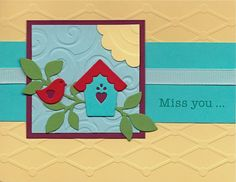 Mostly Markers - Cards: Birdhouse Scene with Yellow and Turquoise