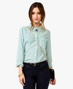 Vertical Stripes Shirt | FOREVER21 $17.80