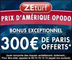 ZEturf : jusqu'à 300 euros de paris offerts pour le Prix d'Amérique Opodo