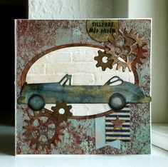 Card with car & gears - Marianne classic cars die - MFT timeless gears - brick wall embossed  - Authentique paper pad - Durable collection - JKE