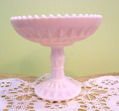 Vintage Shell pink  Milk Glass Bowl on Pedestal by trixzstreasures, $13.00