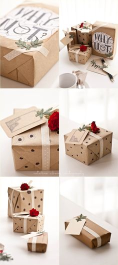 Love the use of pressed foliage and quirky statements on wrapping... I'm intrigued! | Cata's blog
