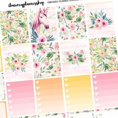 """New lovely kits!! """"Gorgeous"""", """"Blush"""", """"Foxy"""", """"Dreamy"""" and much more!! For use with the Erin Condren and The Happy Planner!! Unique designs, glitter washi, high resolution pdfs and free Silhouette cut files. Check them out! :)"""