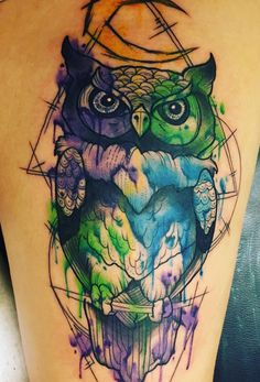 Watercolour Owl by Dan Barren, Nevermore Tattoo Parlour, UK