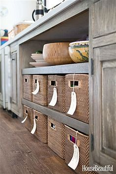 These labeled baskets keep the pantry organized