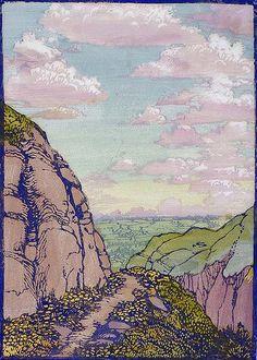 The Trail Home, 1930 by Frances Hammell Gearhart (b. Art Prints, Art Painting, Japanese Art, Art Inspo, Painting, Illustration Art, Art, Linocut Art, Landscape Art
