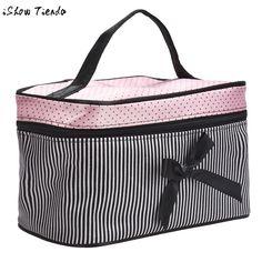 Cosmetic Bag Striped Bowknot Women Makeup bag Travel Portable Handbag Maleta De Maquiagem Make-up Tools Special Offer #0505