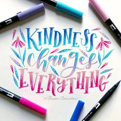 Kindness changes everything💖💙 for with and 💖 Calligraphy Quotes Doodles, Brush Lettering Quotes, Brush Pen Calligraphy, Doodle Quotes, Hand Lettering Alphabet, Watercolor Lettering, Lettering Ideas, Letras Cool, Creative Lettering