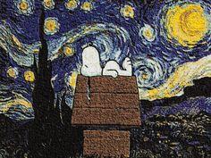 Vincent van Gogh is nog steeds erg populair bij veel mensen. Waarschijnlijk ook daarom dat er steeds meer replica's van zijn schilderijen komen gebaseerd op moderne thema's. Zoals bijvoorbeeld Batman Of Starwars Nyan cat Lord of the Rings Doctor Who Snoopy The Simpsons Half-life Lego
