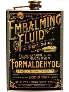 """Theatre Bizarre Embalming Fluid"" Flask by Retro-A-Go-Go!"