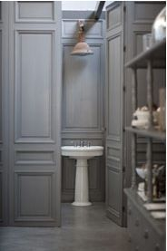 Powder Room 49 Lovely Rooms With Wood Paneling Grey Bathrooms, Beautiful Bathrooms, Modern Bathroom, Bathroom Gray, Bad Inspiration, Bathroom Inspiration, Bathroom Ideas, Design Bathroom, Bathroom Interior