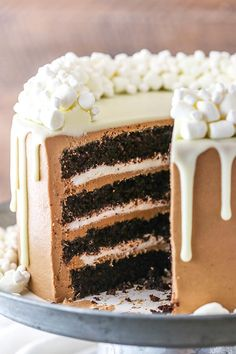 Hot Chocolate Cake is made with layers of moist chocolate cake, hot chocolate buttercream frosting & marshmallow filling! It's hot chocolate in cake form! Food Cakes, Cupcake Cakes, Holiday Desserts, Holiday Recipes, Perfect Chocolate Cake, Cake Chocolate, Ina Garten Chocolate Cake, Cake Recipes, Dessert Recipes