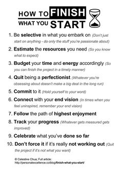 How To Finish What You Start Manifesto