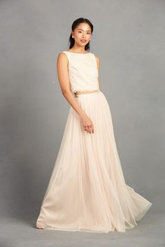 Blush two-piece wedd