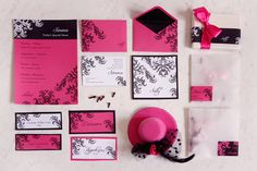 Gipsy chic pink + black wedding suite by Fibre di Luce