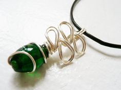 Deep Green Glass Wire Wrapped Pendant Necklace