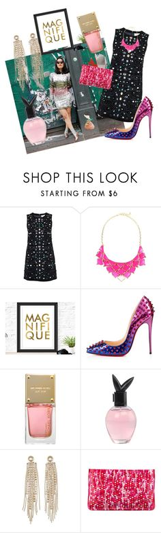 """""""Glitz"""" by bromaxx ❤ liked on Polyvore featuring Ganni, George J. Love, Christian Louboutin, Michael Kors, Playboy, Charlotte Russe, women's clothing, women's fashion, women and female"""