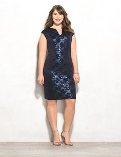 Meet the dress that multitasks: we love how a sequined center panel is visually slimming while giving your look a pop of detail. Genius! Sequined panel down middle front. Imported.