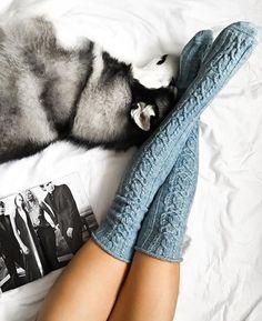 Wool Knee high Knit Socks Wool socks FREE SHIPPING by WannabeDecor
