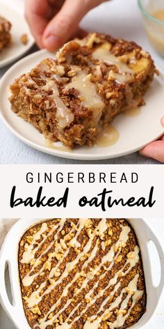 Healthy Dessert Recipes 86061042867917651 - This gingerbread baked oatmeal makes for a cozy breakfast with warm spices and molasses. It's super easy to whip up, gluten-free and vegan. The Oatmeal, Vegan Oatmeal, Banana Oatmeal Bake, Oatmeal With Almond Milk, Pumpkin Pie Oatmeal, Gluten Free Recipes, Baking Recipes, Vegan Recipes, Dessert Recipes