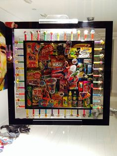 Candy art framed with Pez