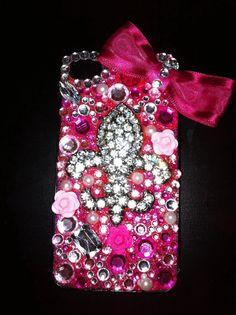 iphone 4 case fleur de lis pink 3D bling-I WANT!!!!!!