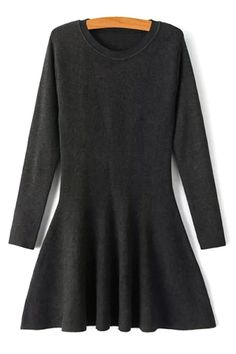 Solid Color Sweater Swing Dress