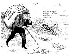 """End of did not end British problems. Illingworth's cartoon published on August Churchill collecting rubbish into a sack, called """"Britain's war problems"""" like """"Dislocation of rail traffic"""" """"Waste of coal"""" and """"Local food shortage"""" History Class, History Memes, Political Events, Political Cartoons, Franklin Delano, World War Two, Ww2, Britain"""
