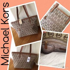 Michael Kors NWT large zip top handbag Just in Michael Kors NWT zip top beige/ brown handbag with outside zip pocket. Has one large zipper pocket inside and 3 other pockets for keys, cellphone etc. measures 17x13.   Michael Kors Bags Shoulder Bags