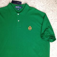 New$89 Mens RALPH LAUREN PIQUE POLO T-SHIRT Green CLASSICS03 - CREST LOGO Golf #PoloRalphLauren #PoloRugby