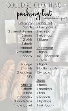 http://tipsalud.com College clothing packing list