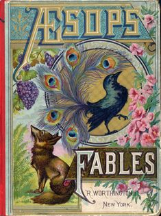 "Vintage Book Cover ""Aesop's Fables"" published circa 1900 - Giclee Art Print on Canvas - Nursery Decor Vintage Book Covers, Vintage Children's Books, Antique Books, Vintage Magazines, Vintage Stuff, Book Cover Art, Book Cover Design, Book Art, Illustration Art Nouveau"