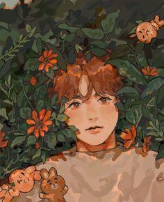 Jungkook Fanart, Kpop Fanart, Aesthetic Art, Aesthetic Anime, Bts Cute, Bts Drawings, Bts Chibi, Bts Wallpaper, Cute Art
