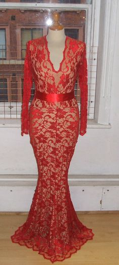 2bc208a271 Baylis   Knight Red Nude Lace Long Sleeve Low by BaylisandKnight Low Cut  Dresses