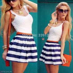 2015 summer fashion women cotton Striped dresses white tank mini dress plus size free shipping