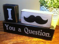 distressed wood blocks moustache primitive by AppleJackDesign, $27.00