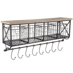 This coffee bar organizational shelf with four metal baskets and will add a touch of country chic decor to your home while providing functional use. The hooks will come in very handy for hanging and displaying your favorite coffee mugs. Wall Shelf With Baskets, Wooden Wall Shelves, Bar Shelves, Basket Shelves, Shelf Wall, Metal Shelves, Bathroom Shelves, Kitchen Shelves, Storage Baskets