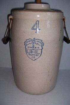 ANTIQUE UHL POTTERY # 4 COBALT STONEWARE BUTTER CHURN CROCK  WITH WOOD HANDLES