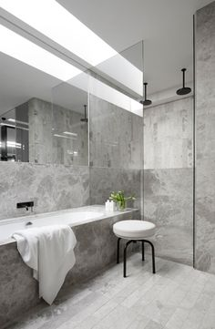 { MIM Design have designed the interiors of the MAH Residence, a newly built home located in Brighton, Australia. Also, kitchens and bathrooms by MIM Design always catch my eye. Grey Marble Bathroom, Grey Bathrooms, Beautiful Bathrooms, Modern Bathroom, Small Bathroom, Silver Bathroom, Nature Bathroom, Bathroom Closet, Bathroom Wall