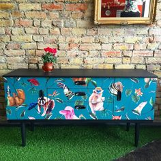Upcycled retro vintage Schreiber sideboard tv stand decoupaged in Badgers Of Bohemia