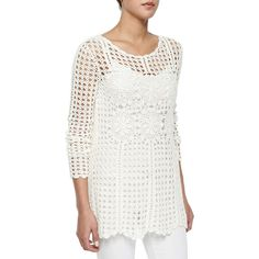 Free People Long-Sleeve Filet Crochet Sweater (405 DKK) ❤ liked on Polyvore featuring tops, sweaters, ivory combo, long sleeve pullover sweater, loose sweater, white crochet sweater, white cotton sweater e floral print sweater