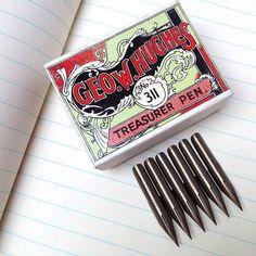 Vintage George W Hughes pen nibs, Treasurer Pen, 6 unused vintage nibs