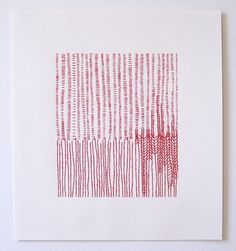 Embroidery On Paper Emily Barletta - red thread on paper. Paper Embroidery, Modern Embroidery, Embroidery Stitches, Embroidery Designs, Textile Fiber Art, Textile Artists, Stitching On Paper, Motifs Textiles, Thread Art