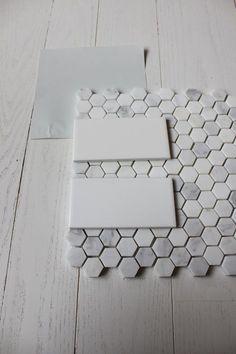 Cabinet Decorative Honeycomb Floor Tile 28 White Subway With Carrara Hex In Master Bath Flooring honeycomb vinyl floor tiles Upstairs Bathrooms, Downstairs Bathroom, Laundry In Bathroom, Small Bathroom, Master Bathroom, Bathroom Grey, Bathroom Ideas, Gray And White Bathroom, Bathroom Makeovers