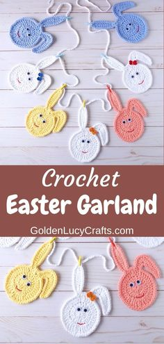This crochet Easter Bunny Egg garland is very cute and will make a pretty decoration for your home. Crochet Easter bunny eggs, DIY Easter decoration, crochet Easter bunting, free crochet pattern. Diy Crochet Projects, Crochet Crafts, Free Crochet, Crochet Ideas, Diy Projects, Easter Garland, Easter Bunny Decorations, Holiday Crochet Patterns, Crochet Bracelet Pattern