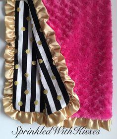 Gold dots metallic minky blanket with hot pink minky swirl.