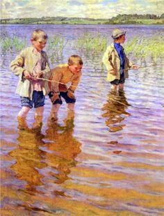 "artist-belsky: ""An Afternoon Fishing, Nikolay Bogdanov-Belsky Medium: oil,canvas"" Illustrations, Illustration Art, Art Watercolor, Art Ancien, Gone Fishing, Art Abstrait, Russian Art, Fine Art, Renoir"