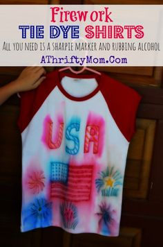 Tie dye Shirts with sharpie markers, make Fire Work shirts for the 4th of July all you need is a sharpie, and a spraybottle #TieDie, #DIY, #...