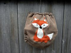 Upcycled Wool Nappy Cover Diaper Wrap Cloth Diaper Cover One Size Cover Brown Stripes With Fox Applique/Beige