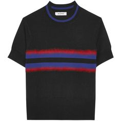 Tim Coppens Signal striped merino wool sweater ($270) ❤ liked on Polyvore featuring tops, sweaters, black, merino wool sweater, stripe top, fuzzy sweater, merino wool tops and tim coppens